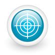 target blue circle glossy web icon on white background