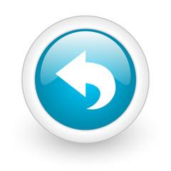 back blue circle glossy web icon on white background