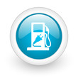 fuel blue circle glossy web icon on white background