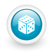 dice blue circle glossy web icon on white background