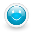 smile blue circle glossy web icon on white background