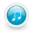 music blue circle glossy web icon on white background