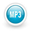 mp3 blue circle glossy web icon on white background
