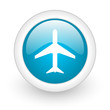 airplane blue circle glossy web icon on white background