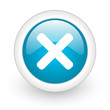 cancel blue circle glossy web icon on white background
