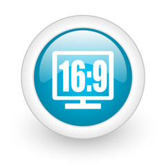 16 9 display blue circle glossy web icon on white background