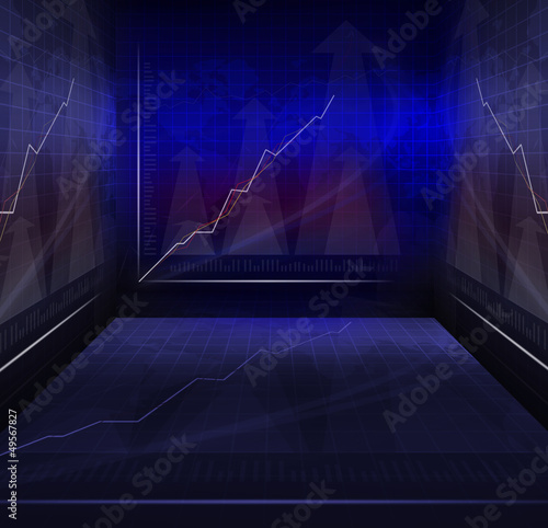 war room of business meeting with contemporary graph indicator b