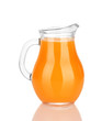 Full jug of tangerine juice, isolated on white