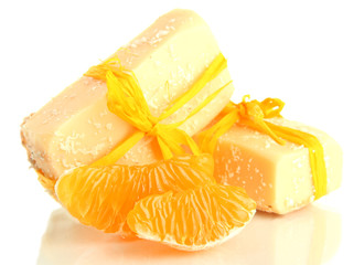 Natural handmade soap and orange, isolated on white