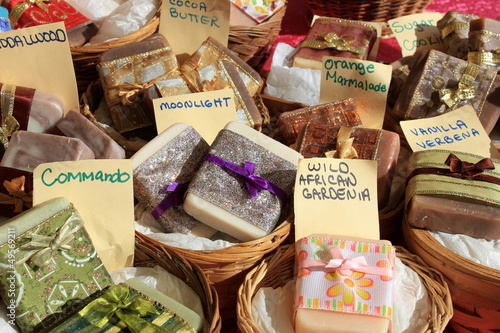 Baskets of organic,fragrant soaps for sale