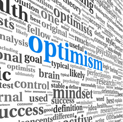 Optimism concept in word tag cloud isolated