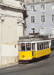 Tram #28 in Lisbon, Portugal.