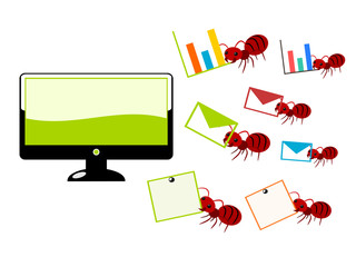 Red ants and computer illustration
