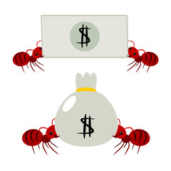 Red ants pick money illustration