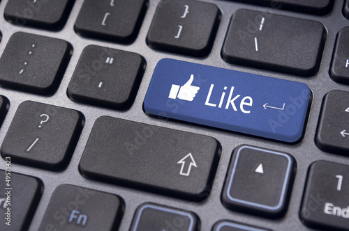 like message on keyboard button, social media concepts