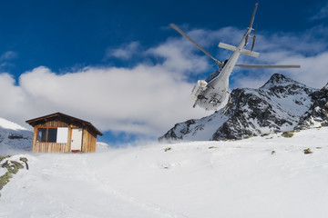 Helicopter in Gressoney Ski Resort, Monterosa, Italy.