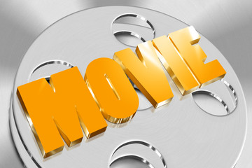 Three-dimensional movie of gold on the roll of film