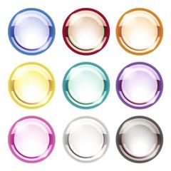 Futuristic Round Neon Button - collection one