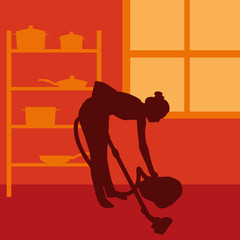 Woman cleaning with vacuum cleaner vector