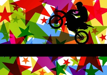 All terrain sport motorbike rider illustration colorful star lin
