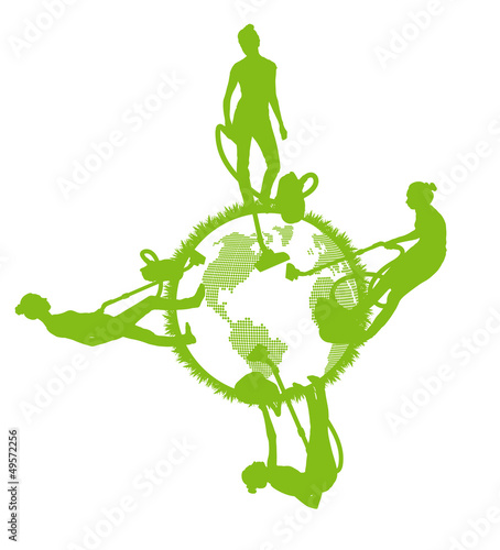Cleaners cleaning planet vector background ecology concept