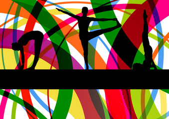 Women gymnastic exercises fitness illustration colorful line bac