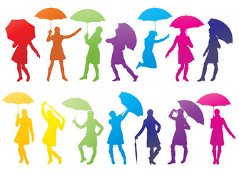 Girl with umbrella abstract vector