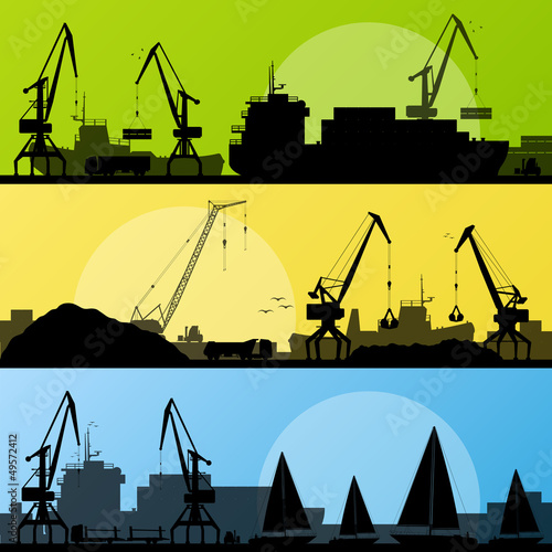 Industrial harbor, ships, transportation and crane seashore vect