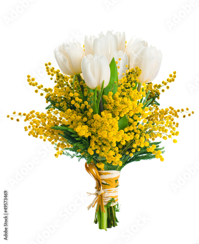 Tuinposter Narcis White tulips with a mimosa, a background from flowers