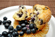 Half Eating Muffin with Fresh Blueberries
