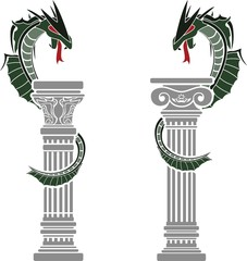 dragons and columns. stencils