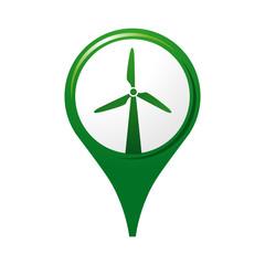 icône éolienne, logo, pictogramme, repère carte