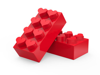 Toy blocks with hearts isolated on white background. Abstract 3d