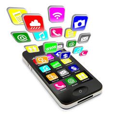 Smartphone mit fliegenden Apps