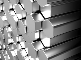 Shiny hexagom metal bars