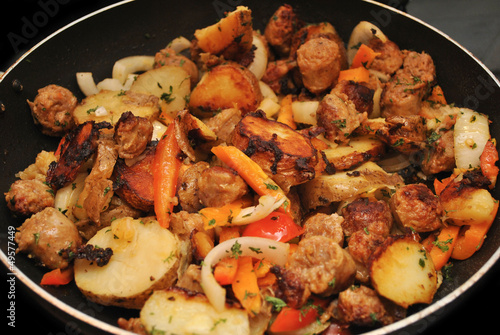 Cooked Sausage, Onions, Potatoes, and Peppers