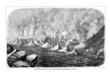 Vusuv-Krater im 19. Jahrhundert (Alte Lithographie)