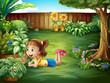 A little girl watching a butterfly
