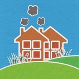 Factory on green grass  with stitch style on fabric background