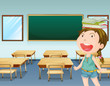 A young girl inside a classroom