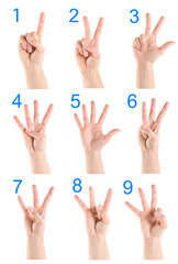 Collage hand showing number