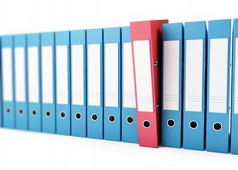 office folders, binder 3d Illustrations on a white background