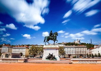 Place Bellecour à Lyon, France.