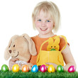 Cute child with bunny, Easter eggs and Ester basket