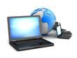 Global network - laptops and earth globe