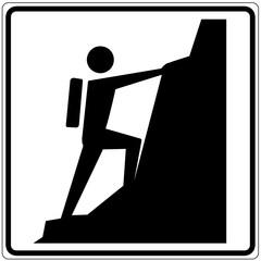 Schild weiß - Klettersteig