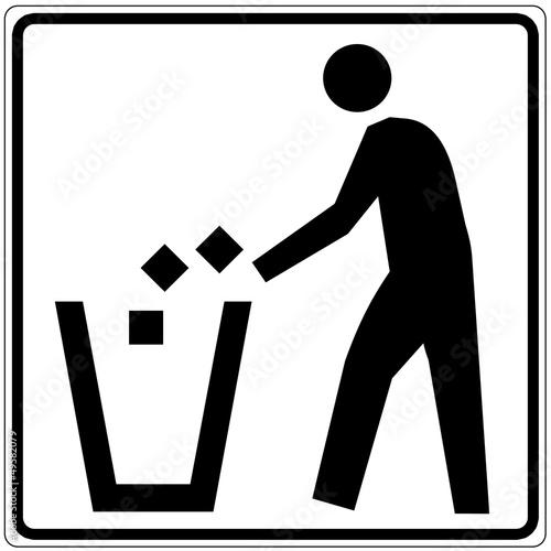 Schild weiß - Abfalleimer 2