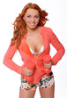 Redhead woman posing on camera