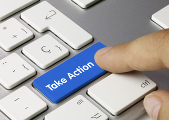 Take Action keyboard key. Finger