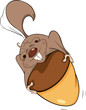 Gopher with an acorn cartoon